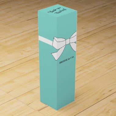 BRIDE & CO Teal Blue Celebration Personalize Party Wine Gift Box