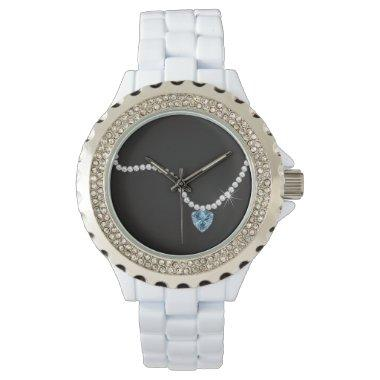 BRIDE & CO Teal Blue Diamond Bridal Party Favor Watch