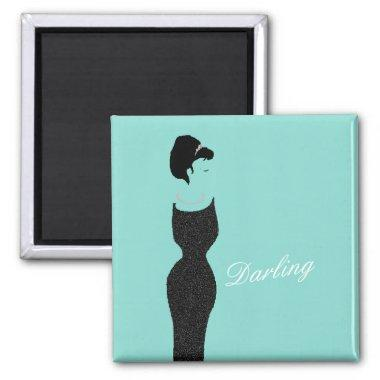 BRIDE CO Teal Blue Little Black Dress Shower Party Magnet