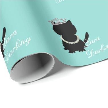 Bride Co Teal Blue Personalized Tiara Cat Party Wrapping Paper