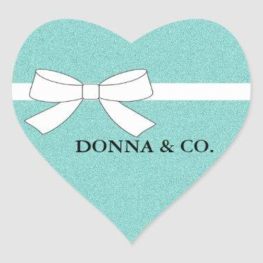 BRIDE & CO Teal Blue Shimmer Bridal Shower Party Heart Sticker