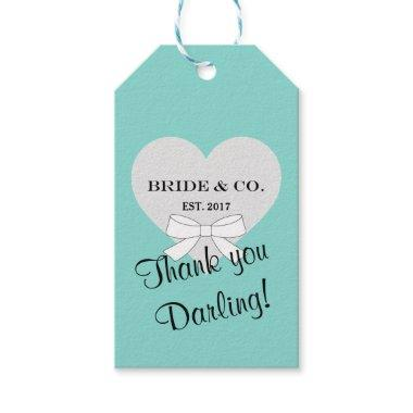 BRIDE & CO Teal Blue Shower Party Thank You Gift Tags