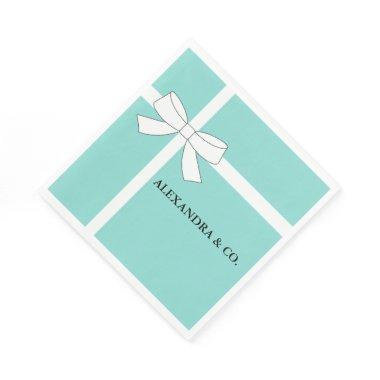 Bride Co Teal Blue Shower Personalized Tiara Party Paper Napkin