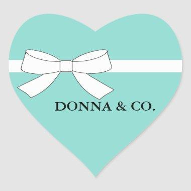 BRIDE & CO Teal Blue Tiffany Bridal Shower Party Heart Sticker