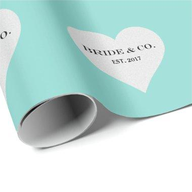 BRIDE & CO Teal Blue Tiffany Party Bridal Shower Wrapping Paper