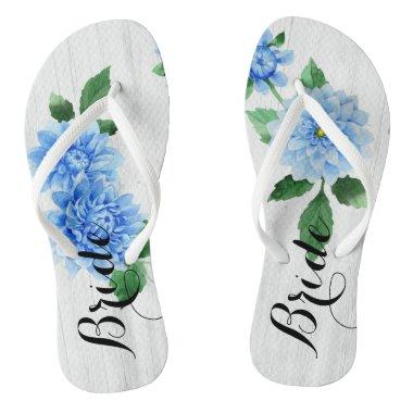 Bride Dahlia Flowers Personalized Flip Flops