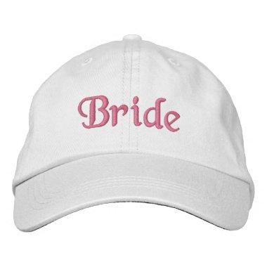 Bride Embroidered Hat : white with pink lettering