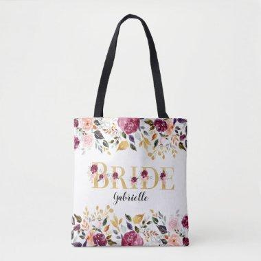 Bride Gold Burgundy Blush Floral Wedding Tote Bag