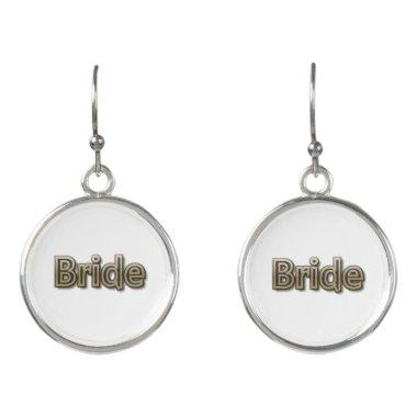 Bride/Gold Color Text Earrings