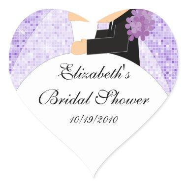 Bride Groom  Heart Sticker Purple