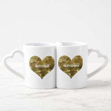 Bride Groom Gold Heart Bridal Wedding Love Couple Coffee Mug Set