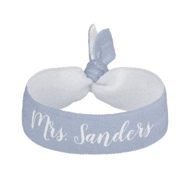 Bride New Mrs. Something Blue White Wedding Party Elastic Hair Tie