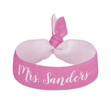 Bride New Mrs. Something Pink White Wedding Party Elastic Hair Tie