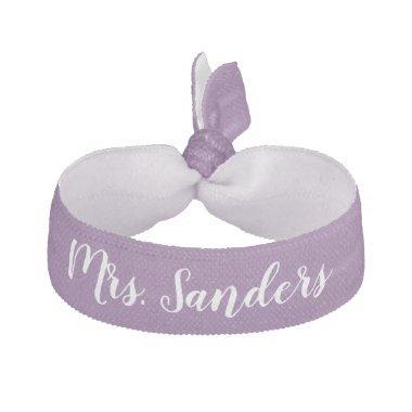 Bride New Mrs. Something Purple White Wedding Elastic Hair Tie