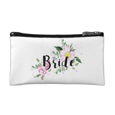 Bride Pink Floral Watercolor Wedding Makeup Bag