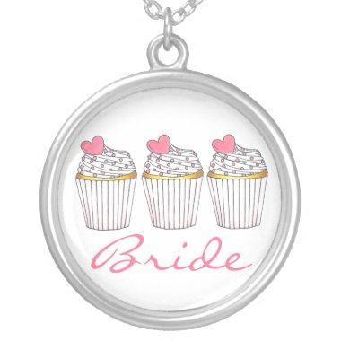 Bride Pink Heart Cupcake Cupcakes Bridal Necklace