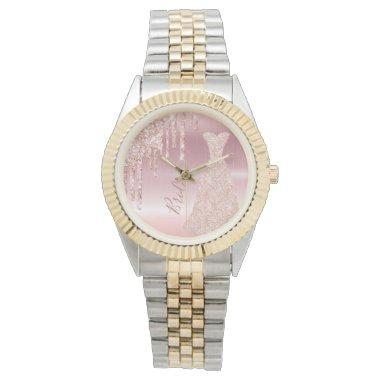 Bride rose gold glitter drip glam dress metallic watch