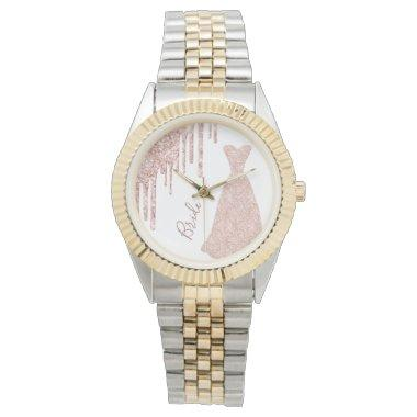 Bride rose gold glitter drip glam dress white watch