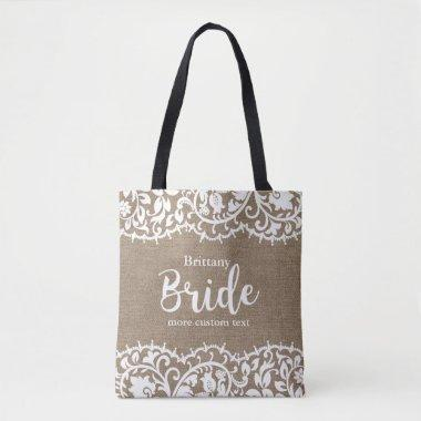 Bride Rustic Lace Burlap Wedding Personalized Tote Bag