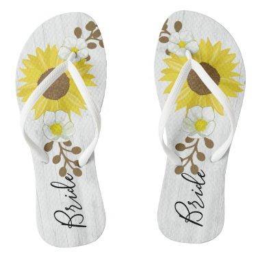 Bride Rustic Wood Sunflower Flowers Flip Flops