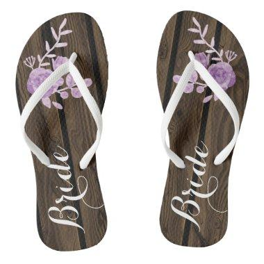Bride Rustic Wood Watercolor Flowers Flip Flops