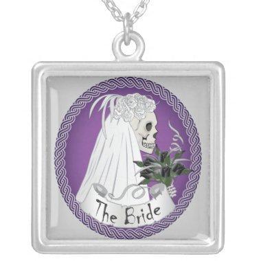 Bride Skull - Purple Silver Plated Necklace