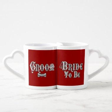 Bride To Be and Groom, Fancy White - Black Outline Coffee Mug Set