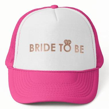 BRIDE TO BE with rose gold foil effect print Trucker Hat
