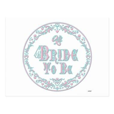 Bride To Be With Veil, Fancy Pink - Teal Vintage PostInvitations