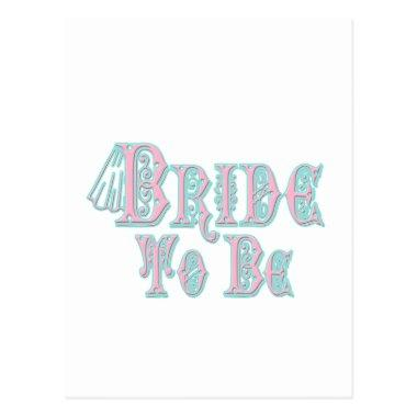 Bride To Be With Veil, Pink and Teal Type PostInvitations
