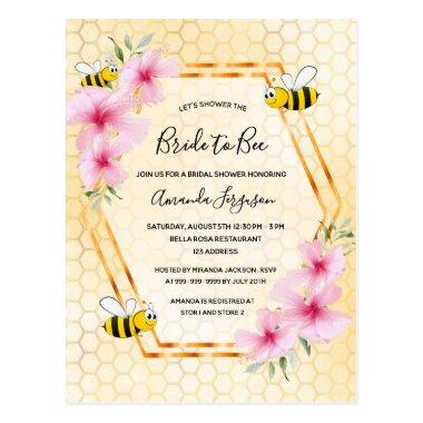 Bride to bee honeycomb bridal shower invitation postInvitations