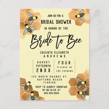 Bride to Bee Quote Gold Honeycomb Bridal Shower Invitation PostInvitations