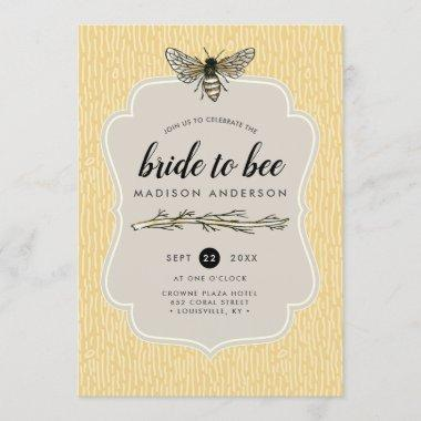 Bride To Bee Rustic Elegant Vintage Bridal Shower Invitations
