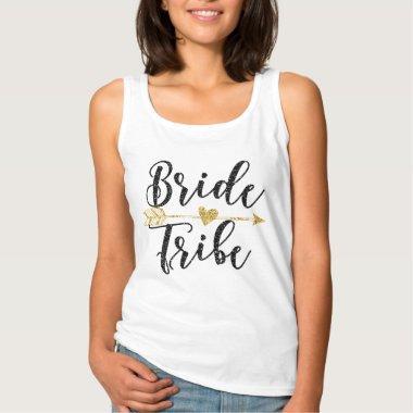 Bride Tribe Black and Golden Glitter-Print Tank Top