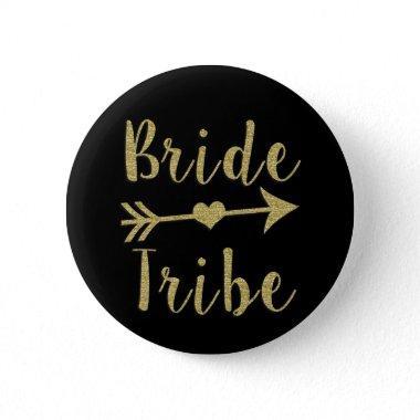 Bride Tribe Bridesmaid Gold Glitter Button