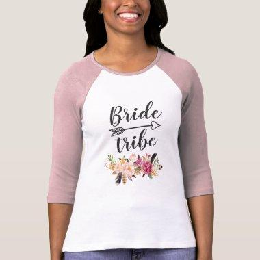 Bride Tribe - Girly Boho Pink Floral Bridesmaid T-Shirt