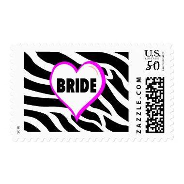 Bride Zebra Stripes Postage