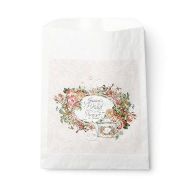 Brides Name  Blush Roses Tea Party Favor Bag
