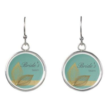 Bride's Team AQUA BLUE GOLD LEAF MOTIVE Earrings