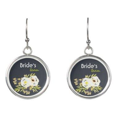 Bride's Team COOL WHITE & YELLOW WATERCOLOR FLORAL Earrings