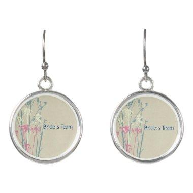 Bride's Team RUSTIC BLUE WHITE PINK COUNTRY CHARM Earrings
