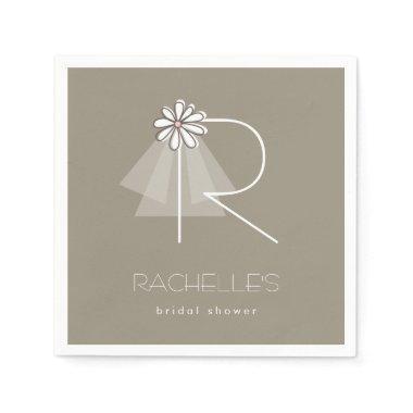 Bride's Veil Daisy Monogram  Party Paper Napkin