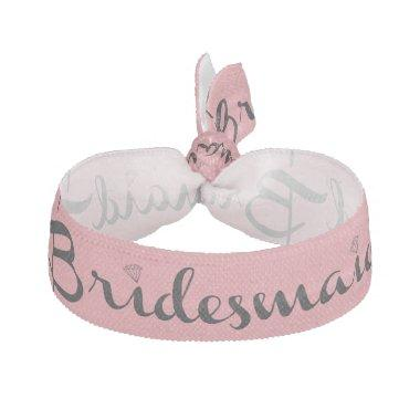 Bridesmaid Black On Pink Elastic Hair Tie