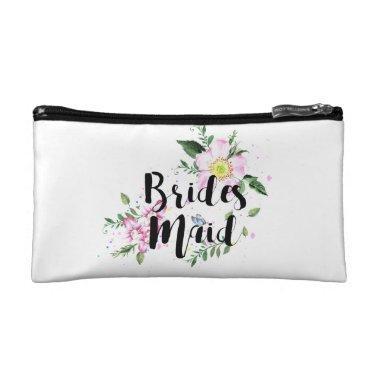 Bridesmaid Blush Roses Floral Watercolor Wedding Cosmetic Bag