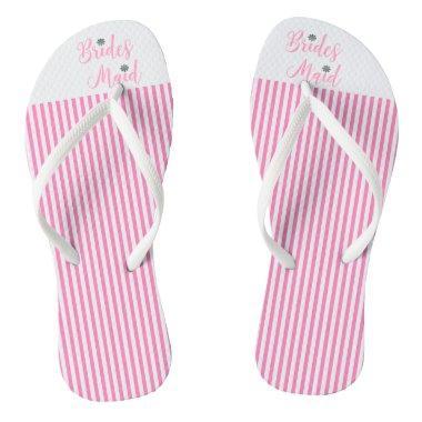 Bridesmaid, Bridal,Wedding, Pink Cute Flip Flops