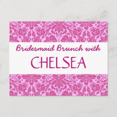 BRIDESMAID BRUNCH with Pink Damask A04 Announcement PostInvitations