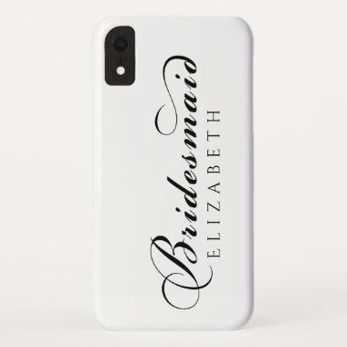 Bridesmaid Calligraphy Script iPhone XR Case
