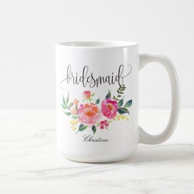 Bridesmaid Floral Personalized Wedding -3 Coffee Mug