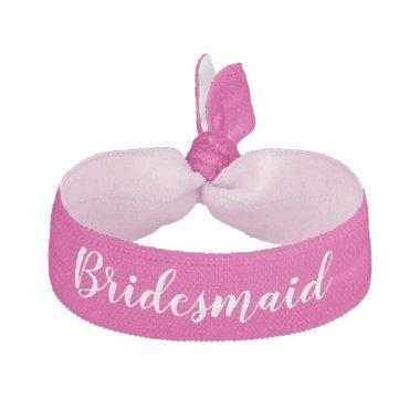 Bridesmaid Pink White Wedding Party Gift Elastic Hair Tie