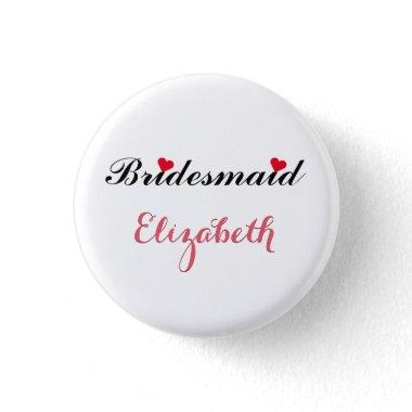 Bridesmaid Wedding Bridal Bachelorette Party White Button